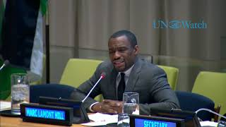"Marc Lamont Hill at UN calls for ""Free Palestine from the River to the Sea"" to chorus of a"