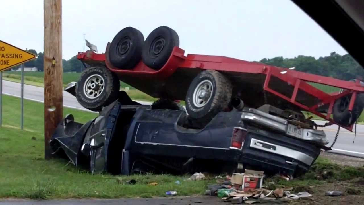 Pickup Truck And Trailer Accident In Charleston Illinois