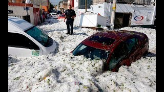 Freak hailstorms bury Mexico town in 5ft thick ice