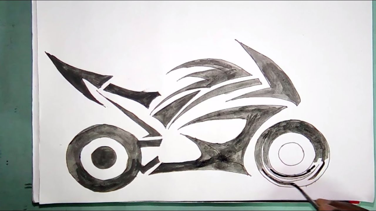 How To Draw A Racing Bike Watercolour Drawing For Beginners Youtube