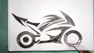 How to draw a Racing Bike / watercolour drawing for kids