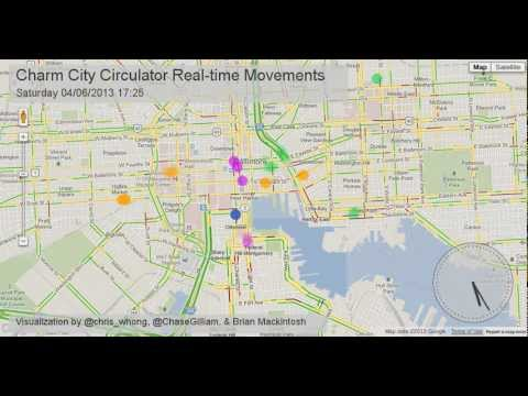 Charm City Circulator Real-Time Data Movements with Google Maps Traffic on