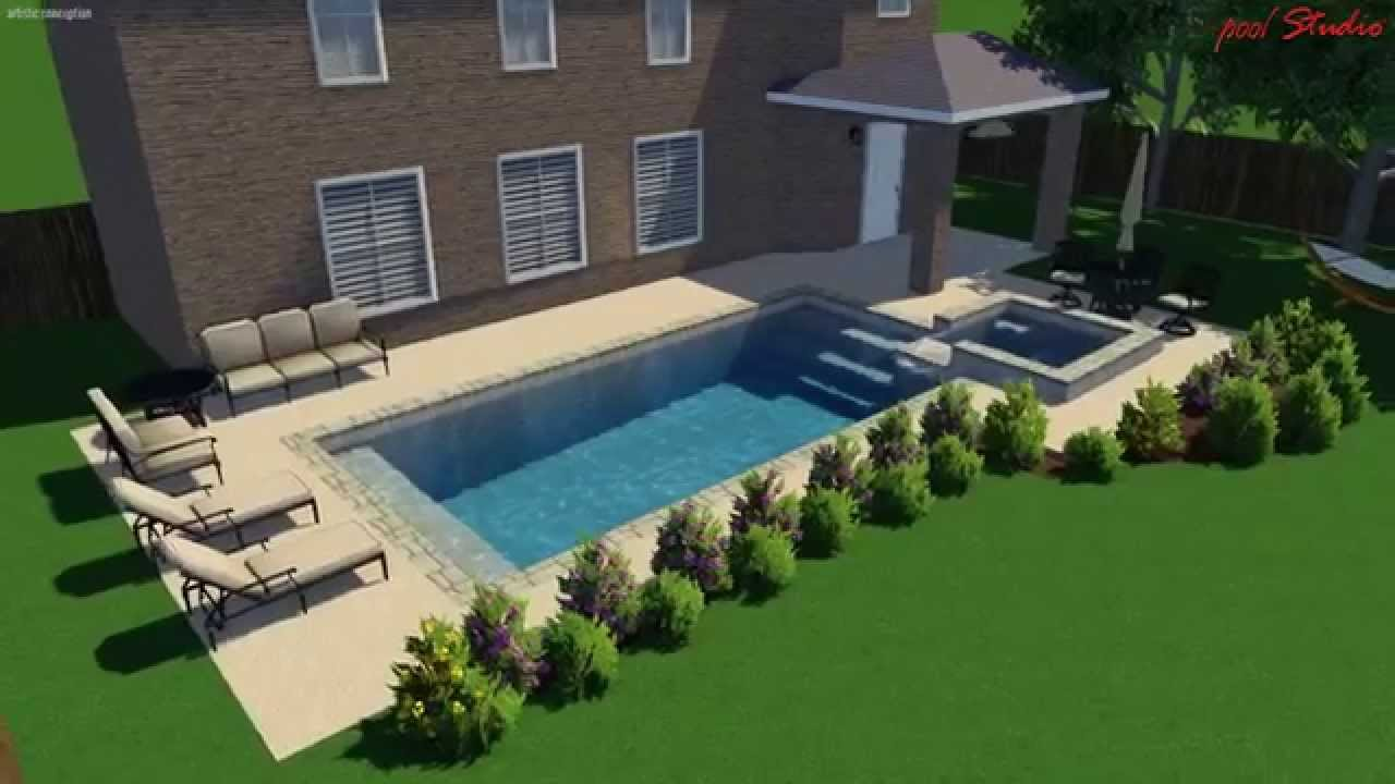 The Woodlands Tx Square pool with Raised spa attached ...