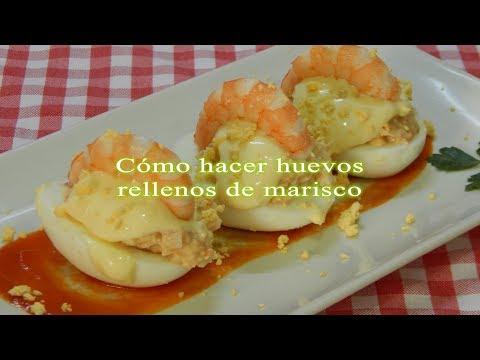 Cómo hacer unos huevos rellenos de marisco muy fáciles y sabrosos