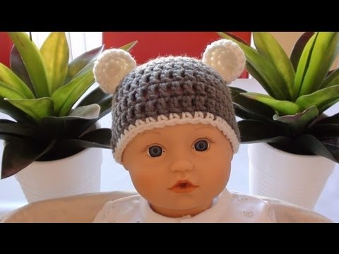 Crochet Baby Beanie With Ears Crochet Bear Ears Youtube