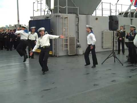 Russian Navy Dancers on U.S. Navy ship