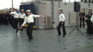 Russian Navy Dancers on U.S. Navy ship