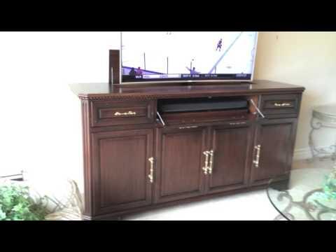 motorized tv lift cabinet samsung 65 ultra hdtv 4k. Black Bedroom Furniture Sets. Home Design Ideas