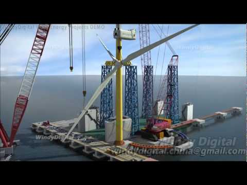 offshore wind farm and installation vessel animation