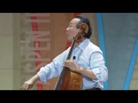 "Yo-Yo Ma, MusiCorps and Sing for Hope in a special demonstration of ""America the Beautiful"""