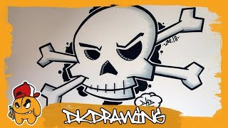 How to draw a dkd graffiti skull & crossbones step by step