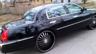 Lincoln TownCar .. Triple Black .. on 26s
