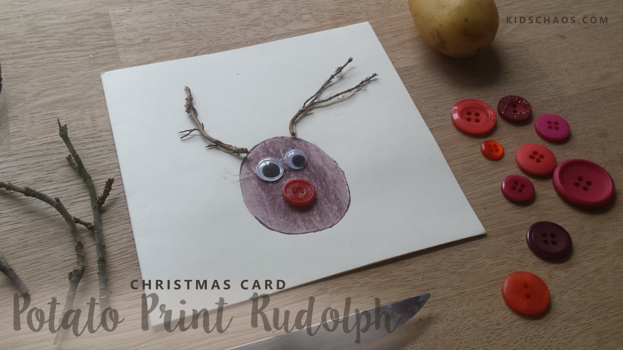 Christmas Crafts Potato Print Rudolph The Red Nosed