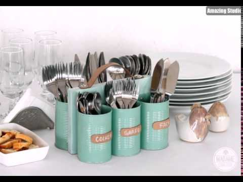 diy silverware caddy tin cans