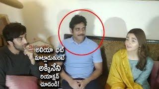 Akkineni Nagarjuna Strange Reaction While Alia Bhatt Speaks to Media   Brahmastra Movie