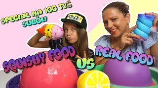 100 000 SUBSKRYPCJI -  SPECIAL - SQUISHY FOOD vs REAL FOOD CHALLENGE z Mamą