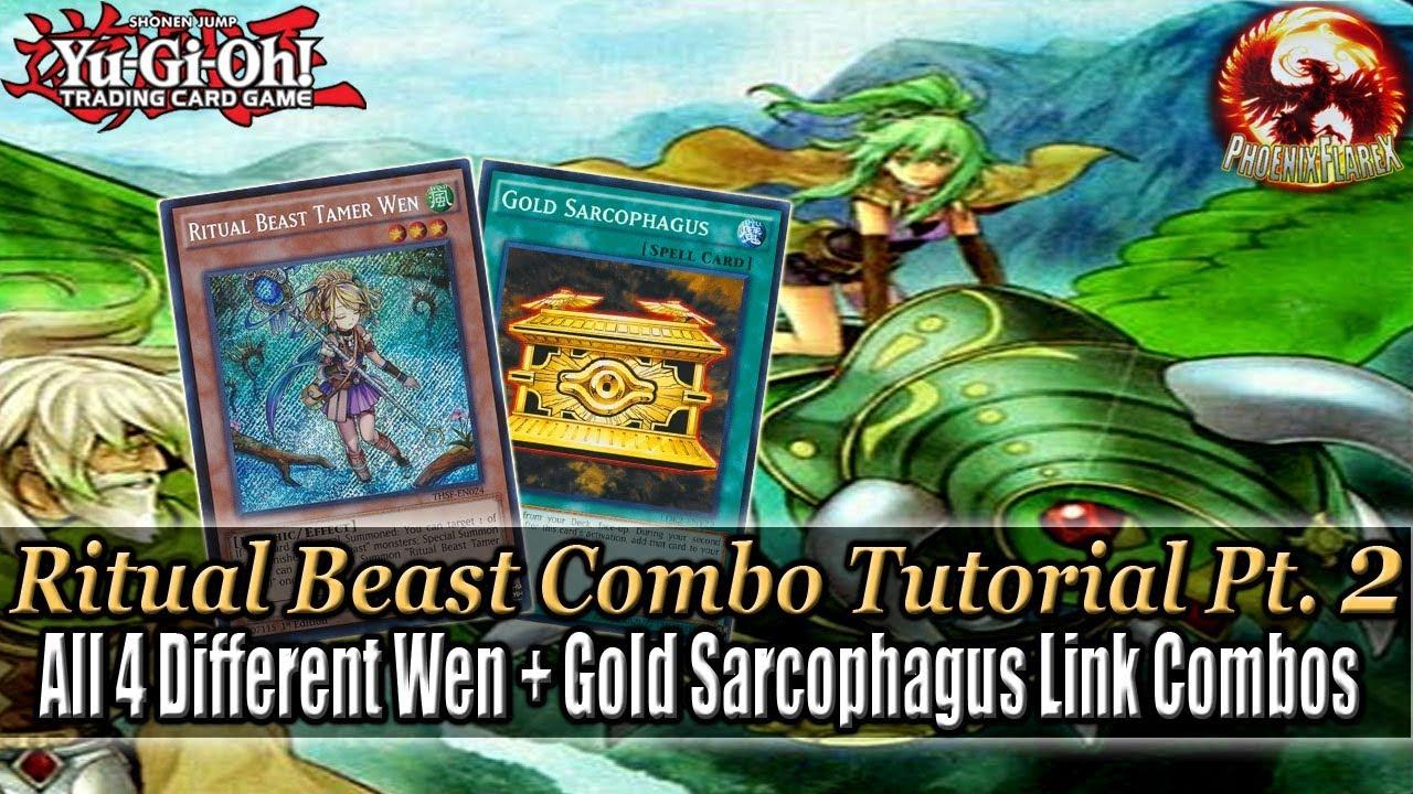 Yu-Gi-Oh! RITUAL BEAST Link Combo Tutorial (w/ Ulti-Kimunfalcos) #2: 4 Wen  + Gold Sarcophagus Combos