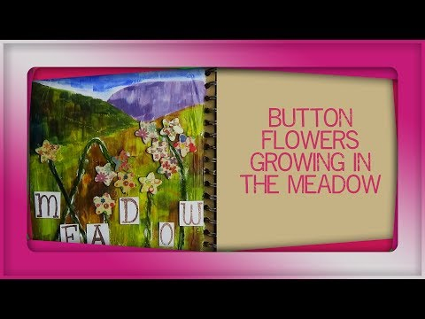 How to use buttons and thread in art journal spread of meadow
