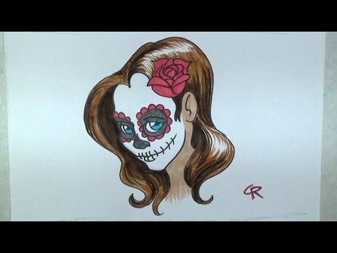 Learn How To Draw And Color A Pretty Sugar Skull Girl Part 2