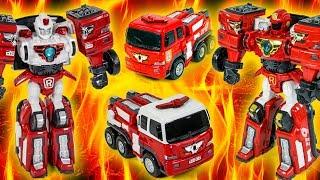 Tobot Rescue R VS Tobot R FireTruck Toy Transformation