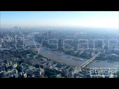 London Aerial Footage - Looking East to West (HD)