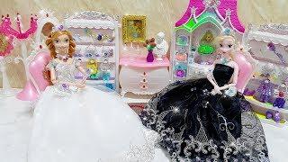 Elsa and Anna Sister Princess Party Dress up Gaun boneka Barbie Vestido de boneca