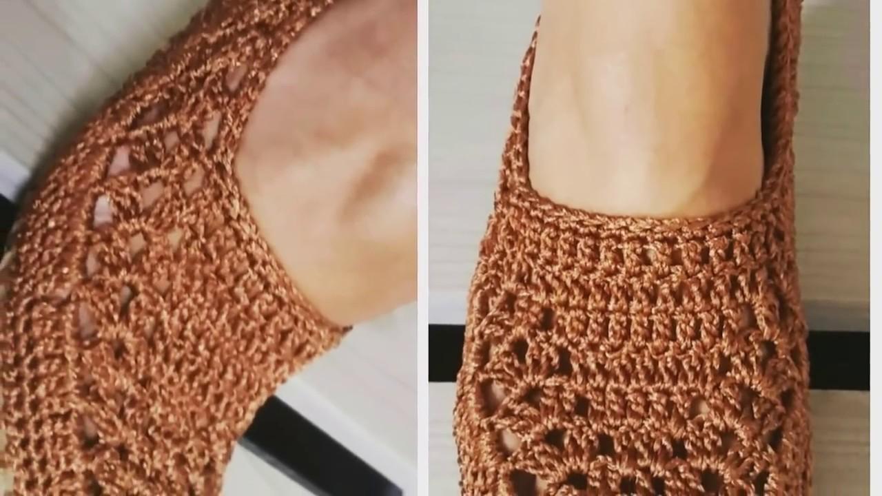 667915549e Sapatilha em crochê com solado com linhas telacril professora Gi ...