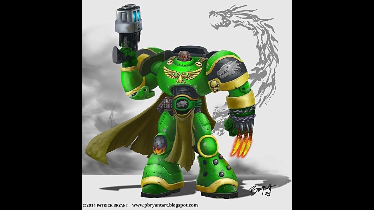 Digital Painting tutorial-Warhammer 40k Salamander - YouTube Warhammer 40k Space Marine Salamanders