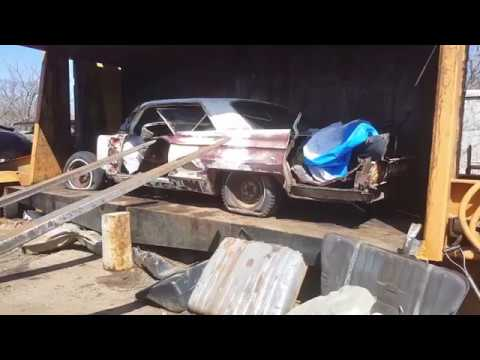 Car crusher crushing cars 44 1962 cadillac coupe deville