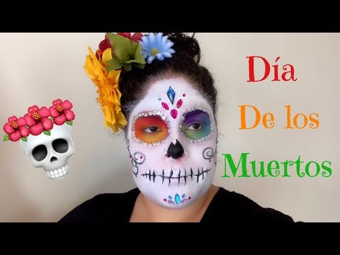COLORFUL DAY OF THE DEAD SUGAR SKULL MAKEUP TUTORIAL FOR HALLOWEEN thumbnail