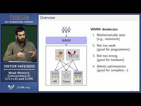 "2017 EuroLLVM Developers' Meeting: V. Viktor Vafeiadis ""Weak Memory Concurrency in C/C++11 and LLVM"""
