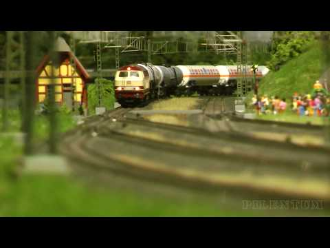 Model Railway Traffic on a Marklin Railroad Layout in HO Scale