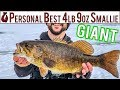 Fisherman Freak Out for Personal Best 4lb 9oz Smallmouth // Ice Fishing For Monster Bass and Perch
