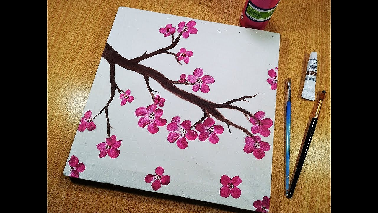 Flowers Painting Easy For Beginners Canvas Kids Art Drawing Youtube