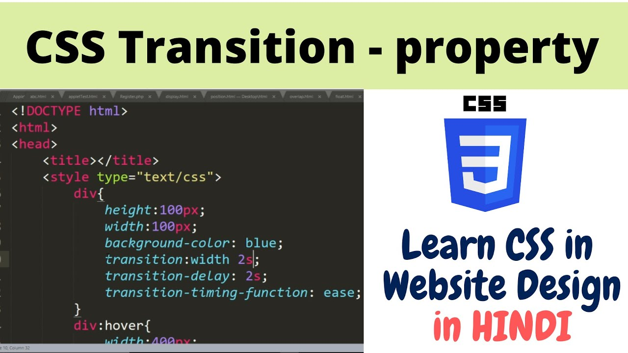 2.17 Animating with CSS Transitions property   Website Designing in Hindi