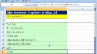 Excel Magic Trick 335: VLOOKUP & Data Validation for Recipes