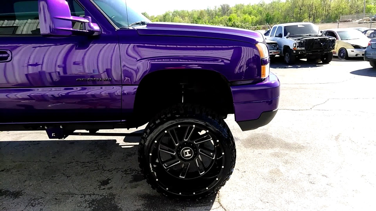 2017 Chevy Silverado 2500hd Duramax Lifted >> B's Candy Purple Chevy 2500HD Duramax Before and After Lifted on 24x14 Hostile Wheels - YouTube