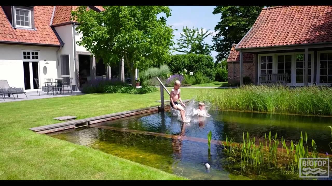 Biotop Natural Pools Drone Flight Over Natural Pool In Belgium