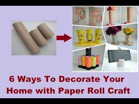 6 DIY Toilet Paper Roll Crafts | Beautiful ways to use paper roll in home decoration|