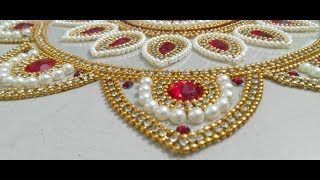 OHP Rangoli, How to make Rearrangeable Kundan Rangoli, OHP Sheet Kundan Rangoli, Kundan Decor 2018