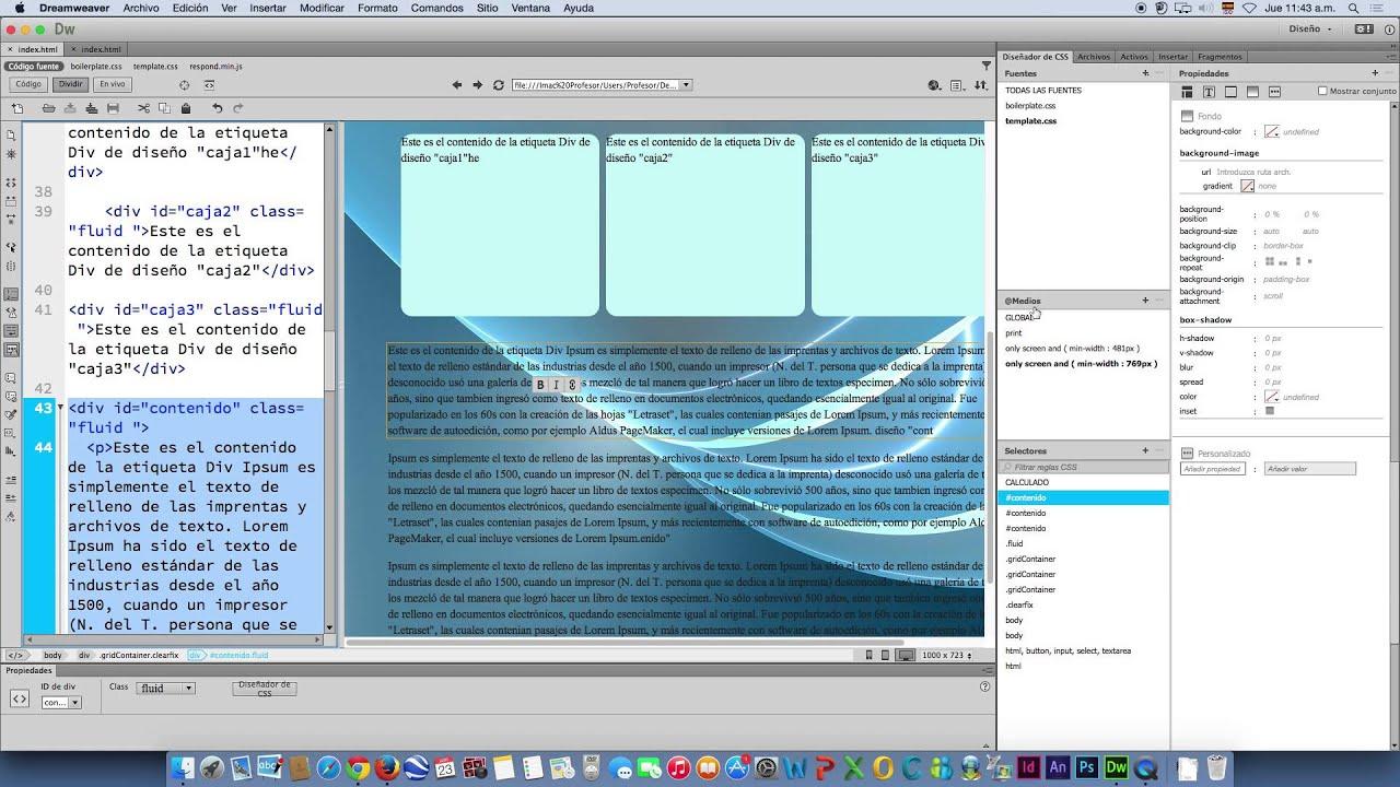 Plantilla HTML + CSS Responsive en Dreamweaver CC - YouTube
