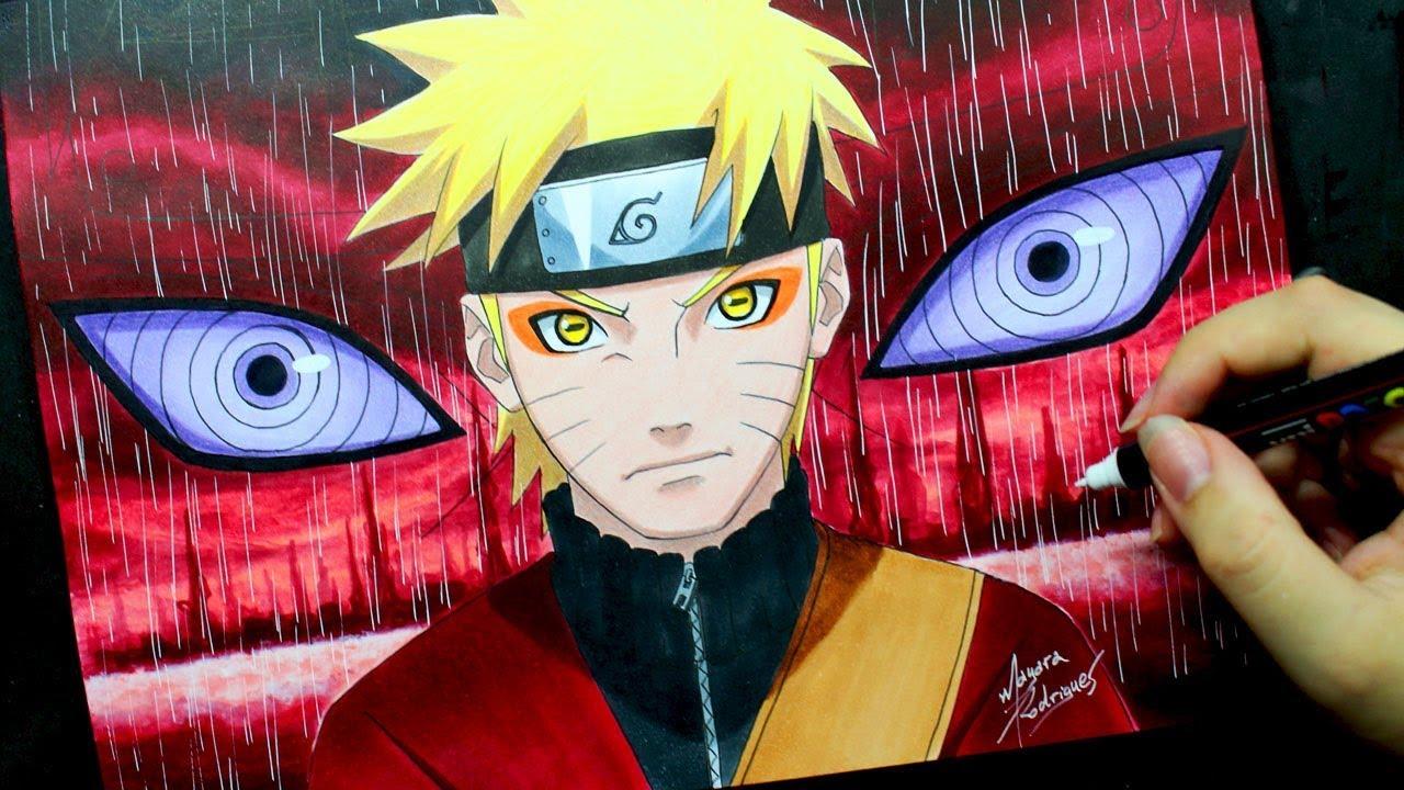 Speed Drawing Naruto Sennin Mode Mayara Rodrigues
