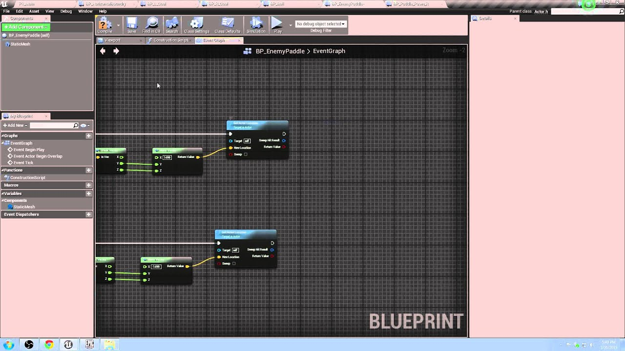 How to Make Pong in UE4 | Part 8 | Enemy Paddle AI + Collision