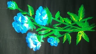 Acrylic painting - one stroke painting of flower bunches for beginner step by step by painting ideas