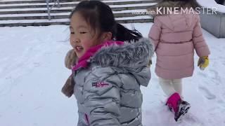 5살아이와 눈오는 광교호수공원 2018