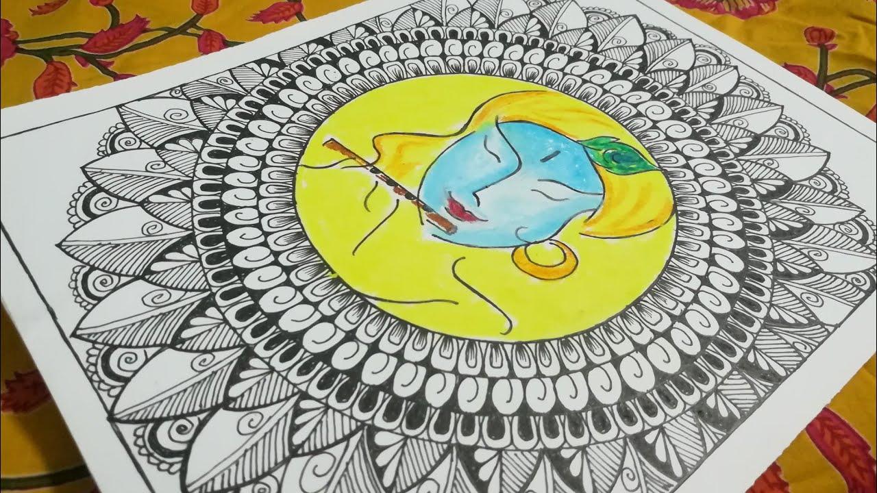 How to Draw Mandala Art for Beginners|Step by Step|Krishna Janmastami|Wall Decor|World of Artifact