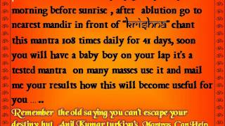 Mantra for Male Child - Male baby Astrology get a Son