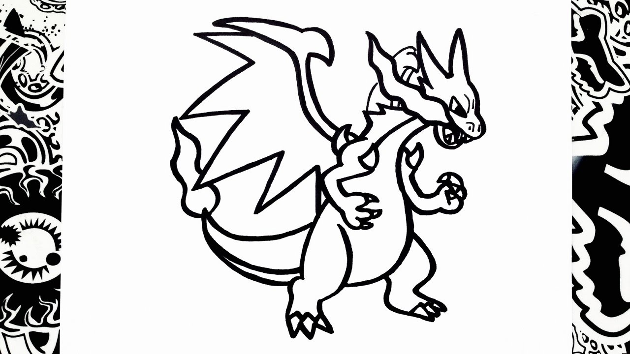 Como Dibujar A Mega Charizard X How To Draw Mega Charizard Pokemon