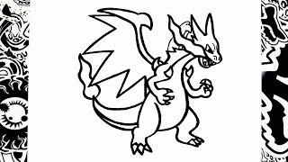 como dibujar a mega charizard x | how to draw mega charizard | pokemon