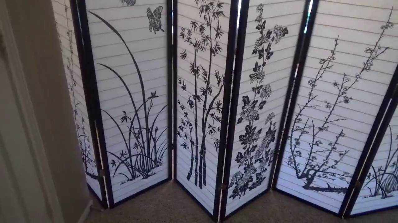 8 Panel Bamboo Floral Room Divider Review YouTube
